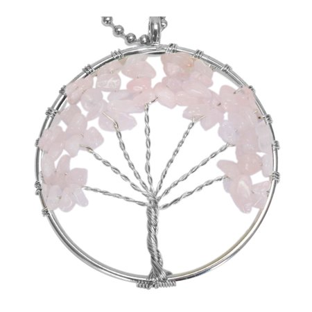 BodyJ4You Necklace Tree of Life  Pink Chalcedony Natural Stones Pendant Gemstone