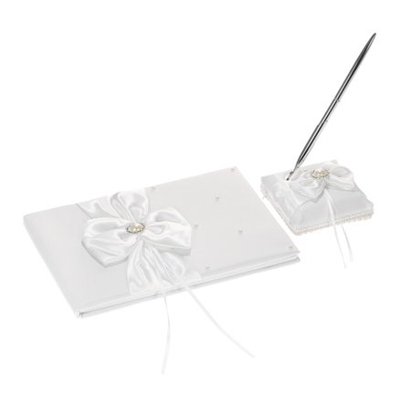 White Satin Ribbon Wedding Guset Signature Book and Pen Stand Set with Rhinestone Faux Pearls Bowknot Decoration