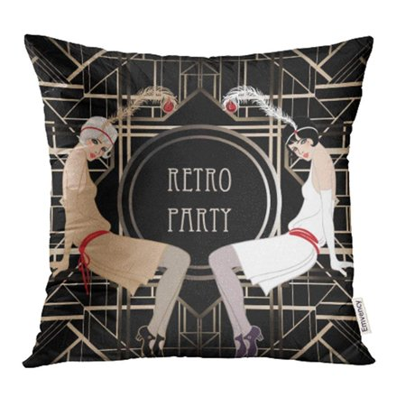 1920s Mafia Fashion (CMFUN Black 1920S Flapper Girl Retro Party Design White Speakeasy Roaring 20S Mafia Pillow Case Pillow Cover 18x18 inch Throw Pillow)