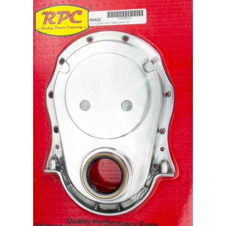 RACING POWER CO BBC Polished Aluminum 1 Piece Timing Cover Kit P/N (Aluminum Timing Chain Cover)
