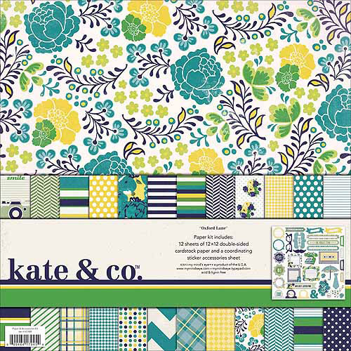 My Minds Eye Kate & Co. Paper & Accessories Kit 12X12in-Oxford Lane