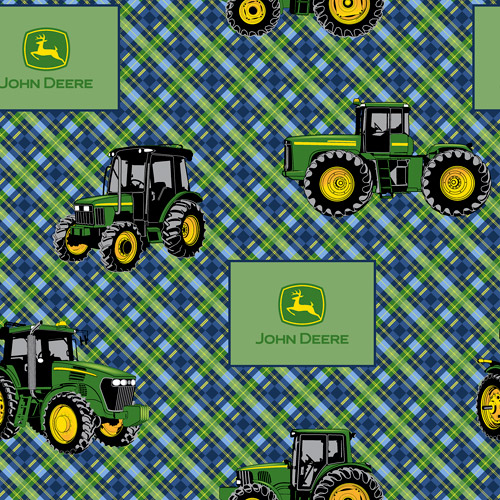 Springs Creative John Deere Diagonal Plaid Fabric by the Yard