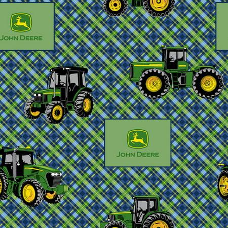 John Deere Diagonal Plaid Fabric, per Yard