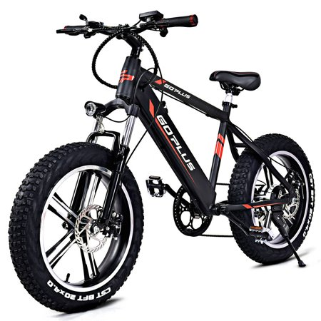 Goplus  20'' Electric Aluminum+Fat Tire Bike Snow Mountain Bicycle w Removable Lithium Battery