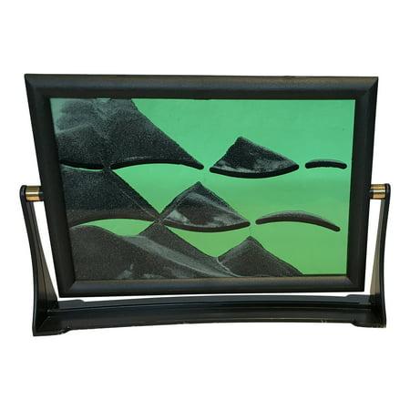 Flip Over Sand Art (Green) Plastic Frame, Glass Panel;Product Size: 6 x8 x