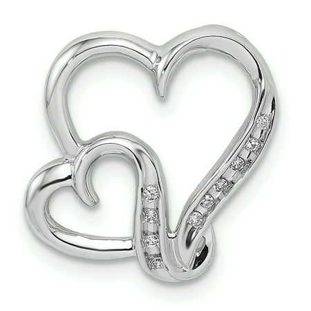 925 Sterling Silver Rhodium Plated Diamond Double Heart Shaped Pendant - image 2 of 2