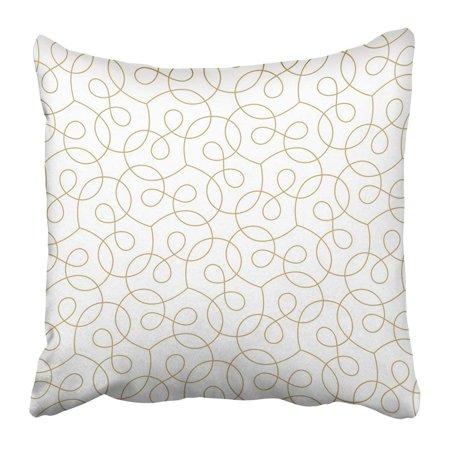 WOPOP Indian Abstract Geometric Pattern with Crossing Thin Golden Lines on White Linear Design Stylish Pillowcase Pillow Cover 18x18 inches (Crossing Pattern)