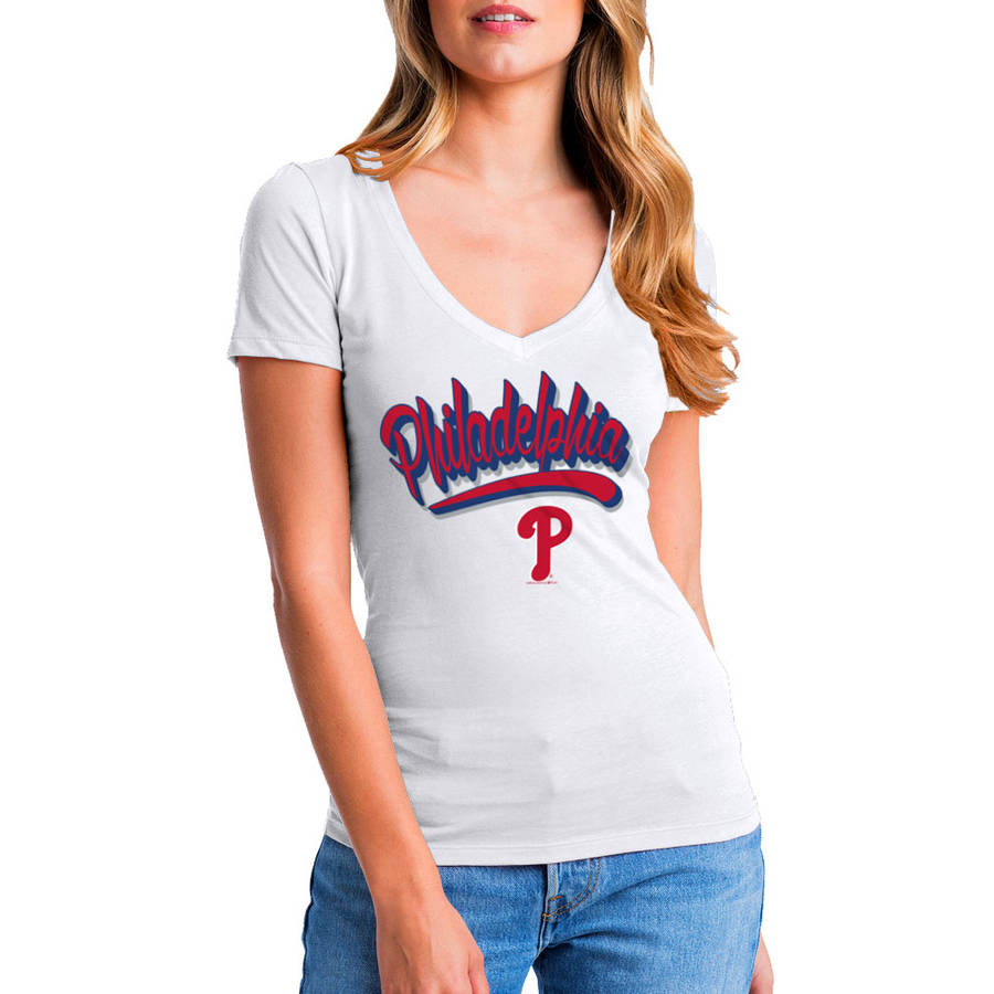 MLB Philadelphia Phillies Women's Short Sleeve White Graphic Tee