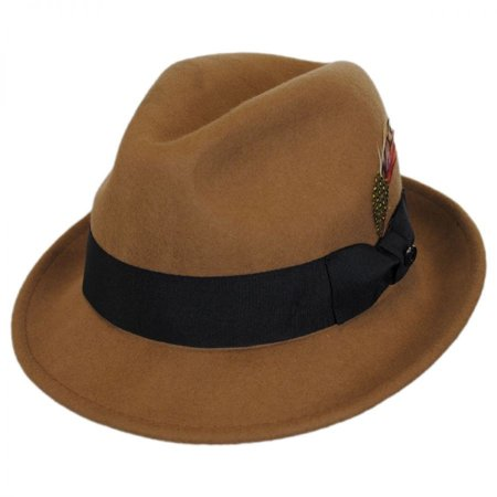 Wool Trilby Hat - Blues Crushable Wool Felt Trilby Fedora Hat - XXL - Pecan
