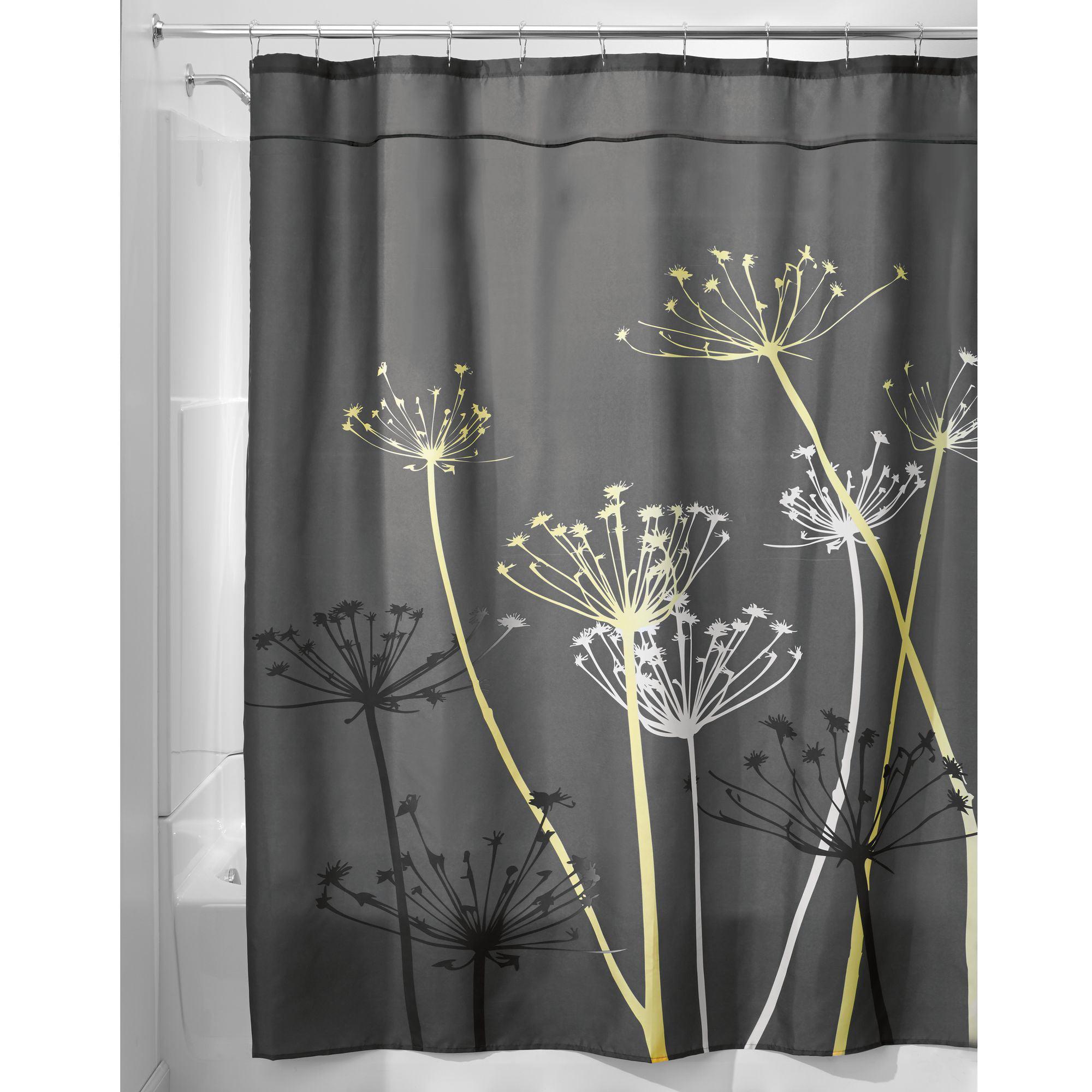 "InterDesign Thistle Fabric Shower Curtain, Standard 72"" x 72"", Gray/Yellow"
