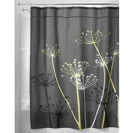 InterDesign Thistle Fabric Shower Curtain, Standard 72u0022 x 72u0022, Gray/Yellow