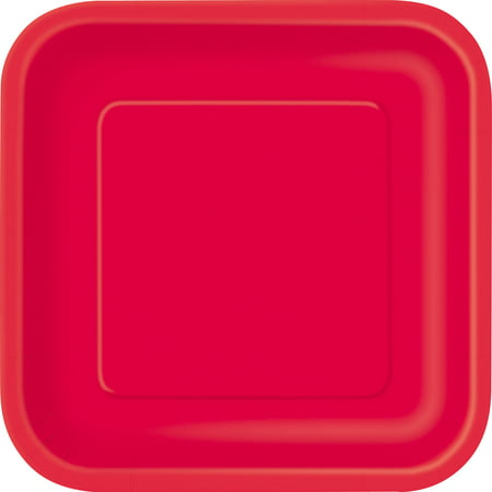 Square Paper Plates, 9 in, Red, 14ct (Alphabet Party Plates)