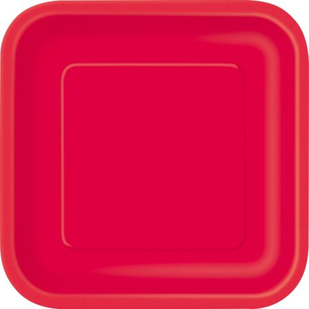 Liner Gold Plated (Square Paper Plates, 9 in, Red,)