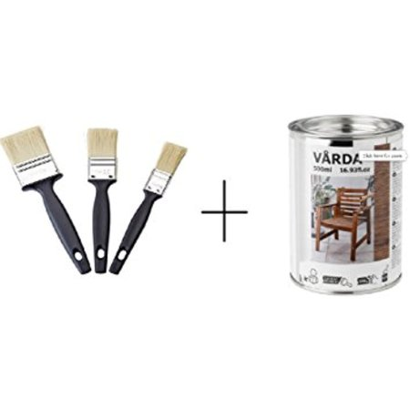 Ikea Wood stain, outdoor use, brown and Paint brush set ()