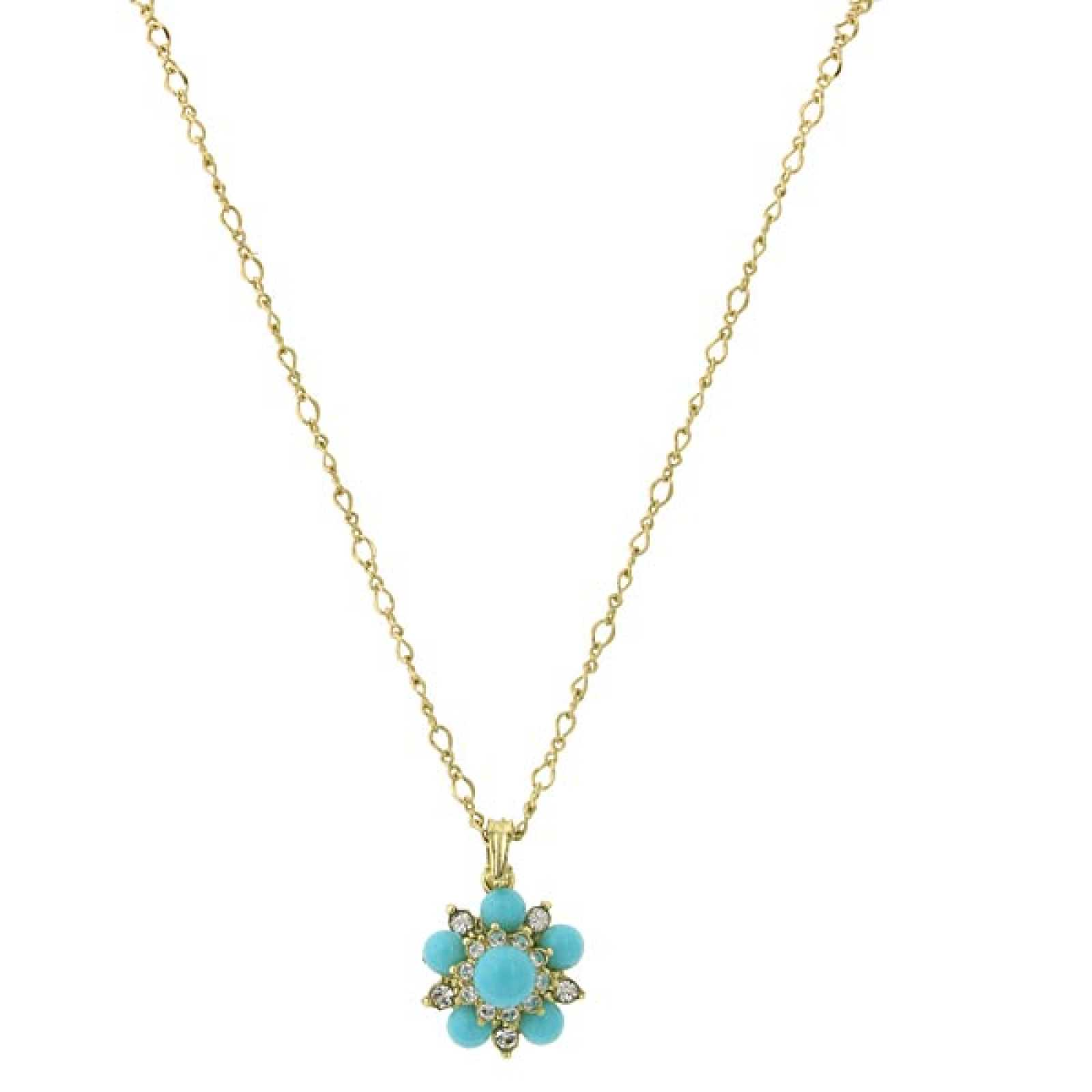 1928 Jewelry Turquoise and Crystal Floral Gold-Toned Short Necklace
