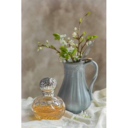 Antique Perfume Bottle with Antique Jug Filled with Spring Blossom Print Wall Art By Amd Images