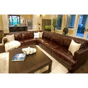 Easton Top Grain Leather Sectional in Saddle Color (Left Arm Sofa, Right Arm Loveseat)