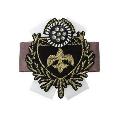 Fleur De Lis Gold Brooch - Sexy Sparkles 1 Pc Retro Badge Brooch Shield Black Fleur-de-lis Pattern Cloth Findings 6.8cm