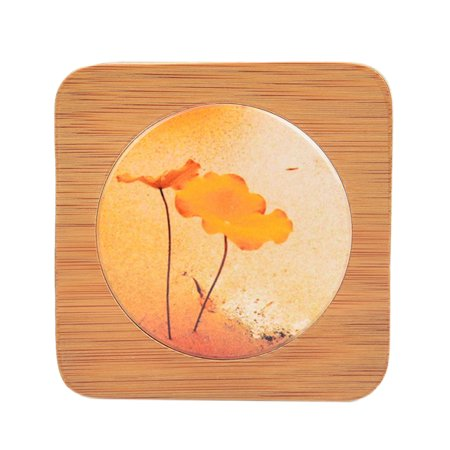 Bamboo & Ceramic Tablemat Hand Drawing Chinese Wind Square Heat Resistant Insulation Placemat Coaster - - Bamboo Drawing