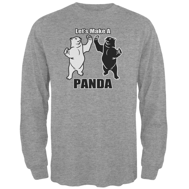 Let's Make A Panda Funny Heather Grey Adult Long Sleeve T-Shirt
