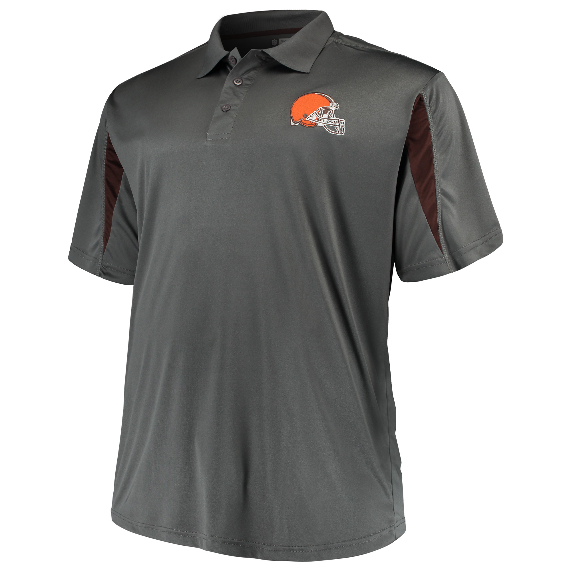 Men's Majestic Charcoal Cleveland Browns Big & Tall Pieced Polo