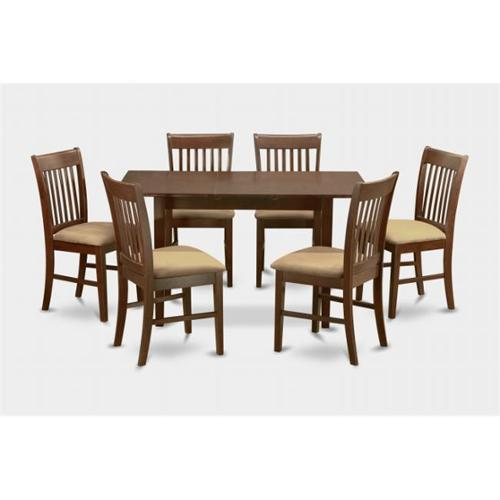 NOFK7-MAH-C 7 Piece kitchen nook Dining Room Set -Table with Leaf and 6 dining room chairs by East West Furniture