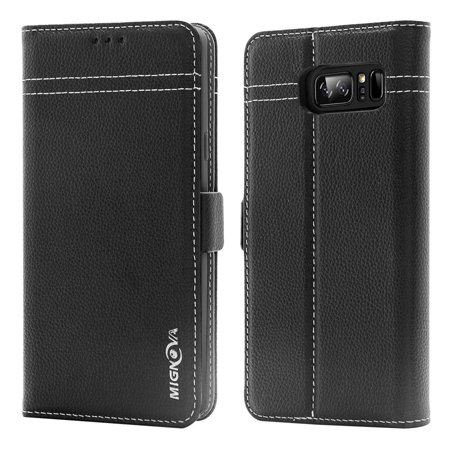 Leather Stand - Samsung Galaxy Note 8 case, Mignova Genuine Leather Case Flip Folio Book Case Wallet Cover with Kickstand Feature Card Slots and Magnetic clip Closure for Galaxy Note 8 2017 (Black)