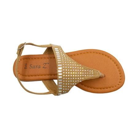 Rhinestone Slingback - Sara Z Girls T Strap Thong Slingback Microsuede Sandals with Iridescent Rhinestone Studs Tan Size 2/3