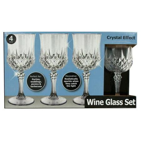 Bulk Buys OH017-4 Crystal Effect Plastic Wine Glass Set - 4 Piece