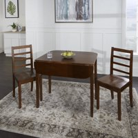 Mason 3 Piece Drop Leaf Wooden Dining Set with Ladder Back Chairs