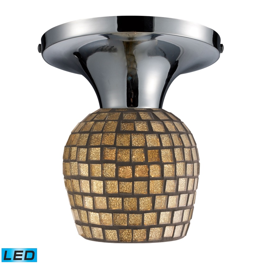 Celina 1-Light Semi-Flush In Polished Chrome And Gold Leaf Glass - LED - image 1 de 1
