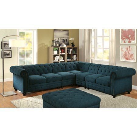 Swell Furniture Of America Calista Tufted Sectional With Extra Chair Multiple Colors Gmtry Best Dining Table And Chair Ideas Images Gmtryco