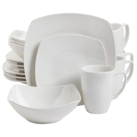 Zen Buffetware 16 pc Dinnerware Set - Square - White - Fine - Lenox Tuxedo Fine Dinnerware