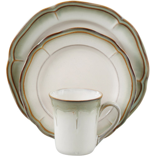Ordinaire Better Homes And Gardens Simply Fluted 16 Piece Dinnerware Set, Dillweed    Walmart.com