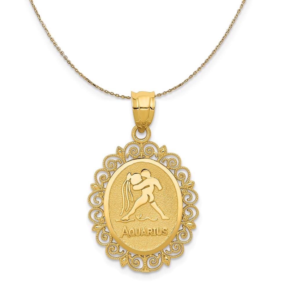 20mm 14K Yellow Gold Aquarius Zodiac Horoscope Birth Sign Satin Charm Pendant