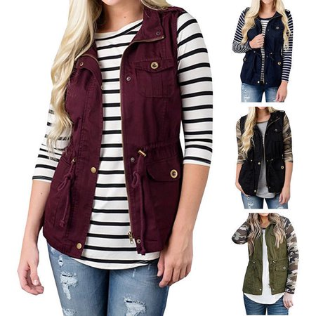Women Olive Cargo Utility Safari Vest Pockets Drawstring Army Top Jacket Coat (Army Green Coat Women)