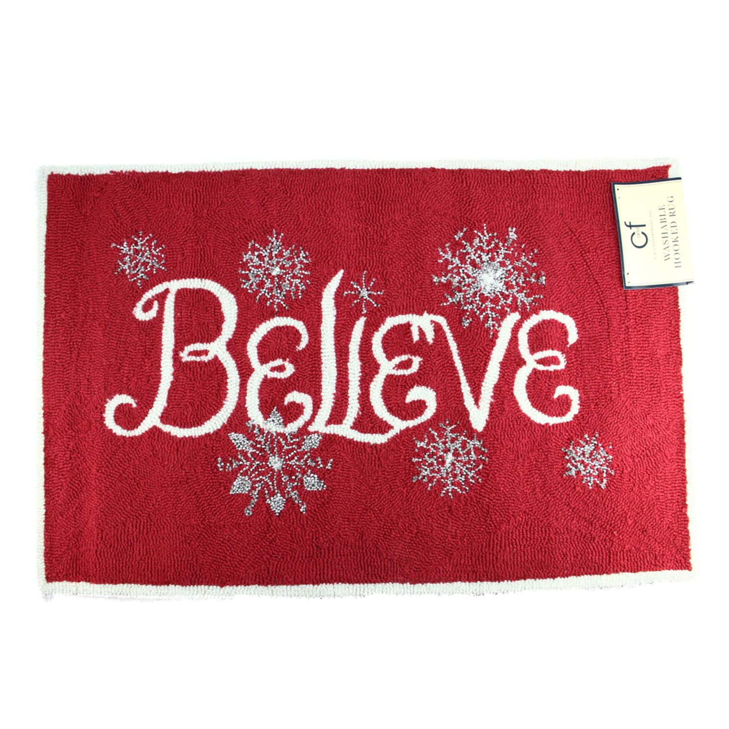 "2' X 3'  Red, White and Silver ""Believe"" Decorative Christmas Throw Rug"