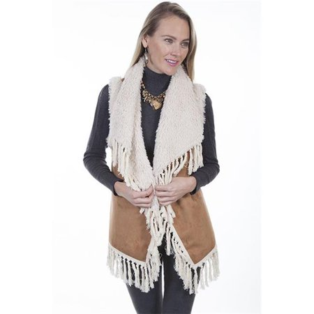 scully 8027 tan xxl womens faux fur vest with faux shearling collar, tan - 2xl