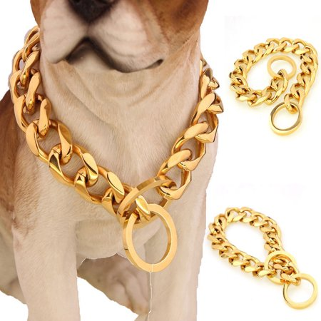 Toggle Chain Collar - Gold Plated 316L Stainless Steel Curb Cuban Chain Dog Collar (Recommend dog's neck 8