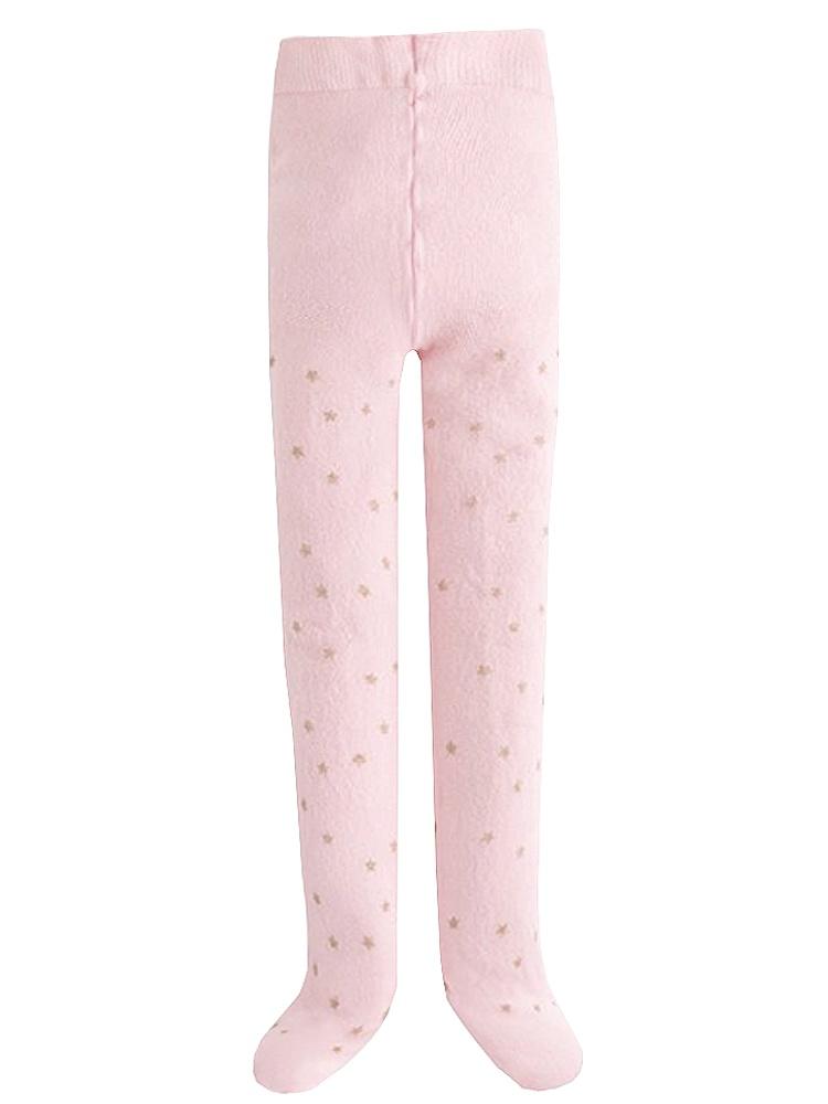 Jefferies Socks Girls Pink Silver Star Microfiber Footed Tights 8-10