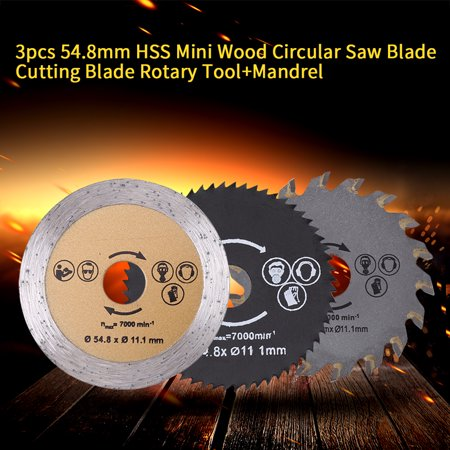 Garosa Saw Cutting Wheel, 3pcs 54.8mm HSS Mini Wood Circular Saw Blade Cutting Blade Rotary Tool+Mandrel - image 3 of 5