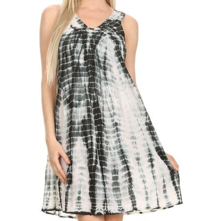 Sakkas Amber Rose Sleeveless V-Neck Embroidered Ombre Tie Dye Tank Top Blouse / Tunic - Black - One Size Regular