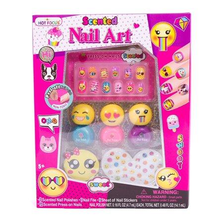 Hot Focus Scented Nail Art Kit - Emoji Girls Non Toxic Nail Polish and Press on Nails(HFC-040BLEM) - Fake Nails For Halloween