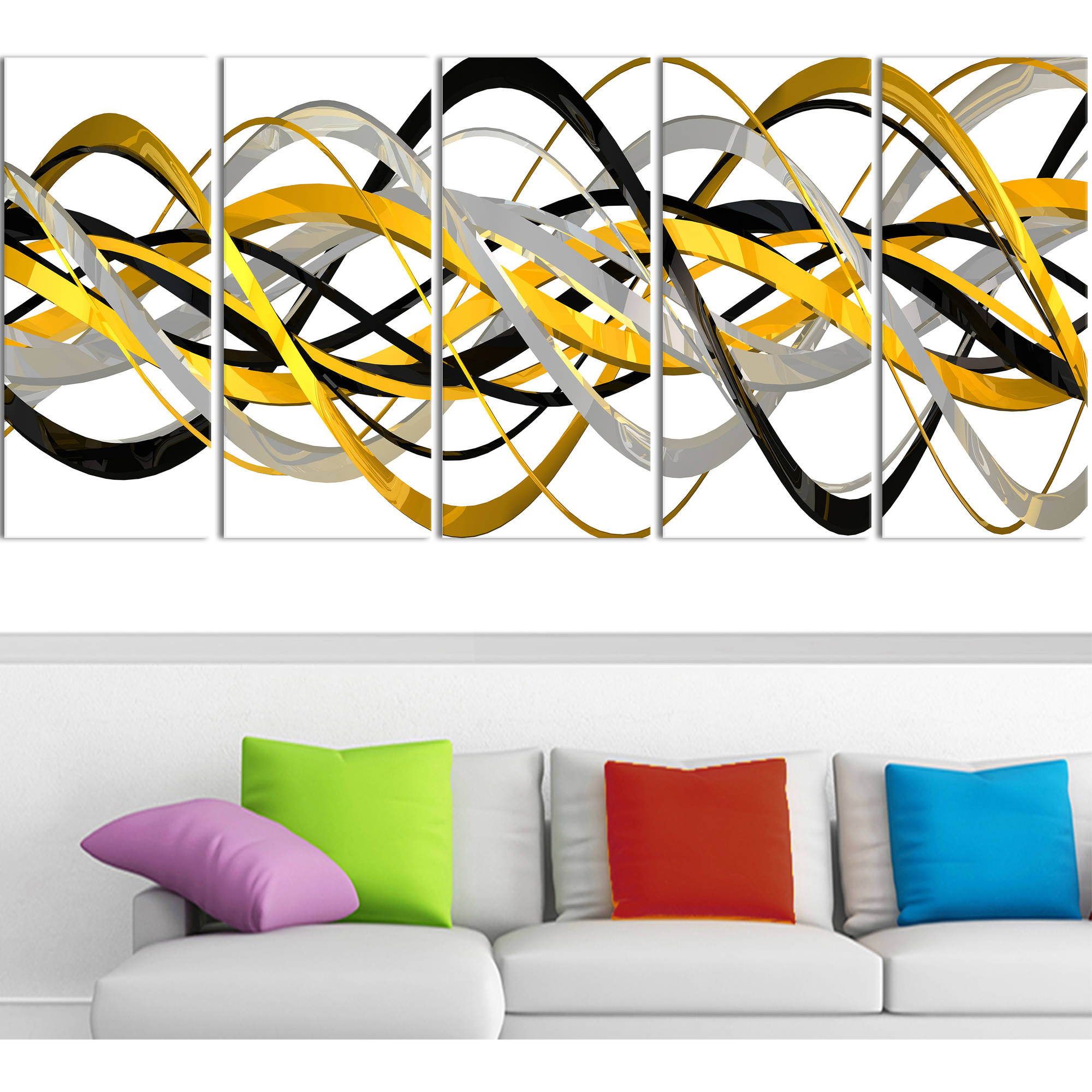 "Design Art HelixExpression Abstract Art Canvas, 5 Equal Panels, 60"" x 28"""