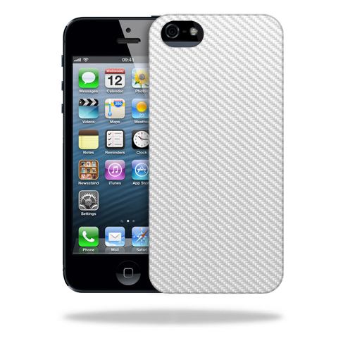 MightySkins Snap-On Protective Hard Case Cover for Apple iPhone 5/5s/SE White Carbon Fiber