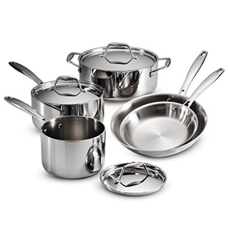 Tramontina 80116/247DS Gourmet 18/10 Stainless Steel Induction-Ready Tri-Ply Clad 8-Piece Cookware Set,