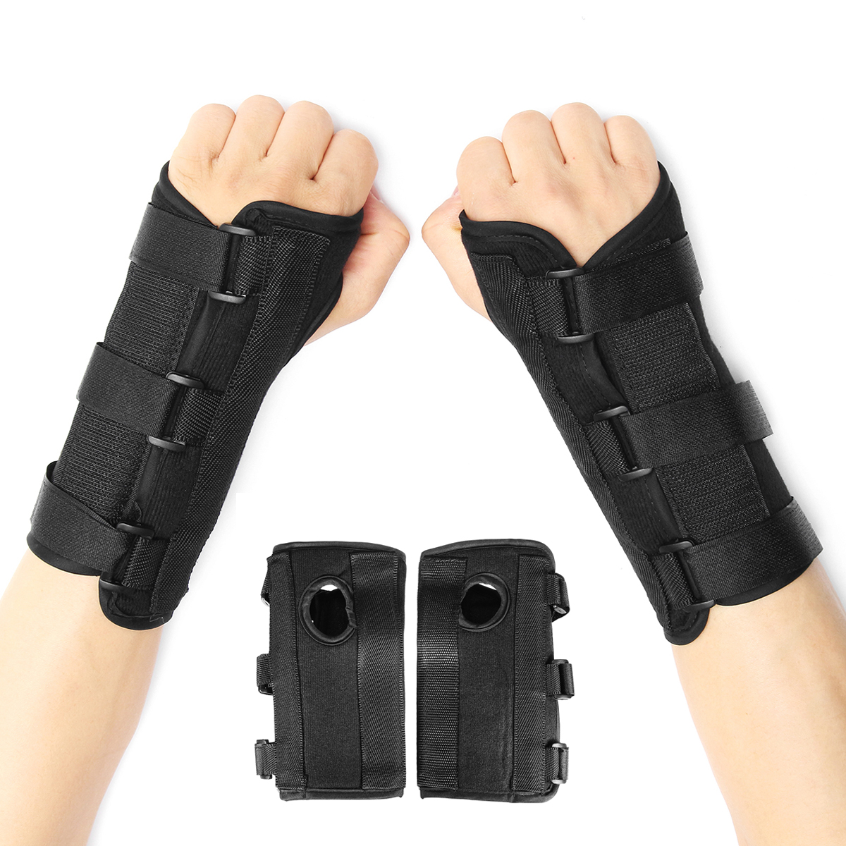 1Pair Breathable Medical Carpal Tunnel Wrist Brace Right and Left Hands Splint Support