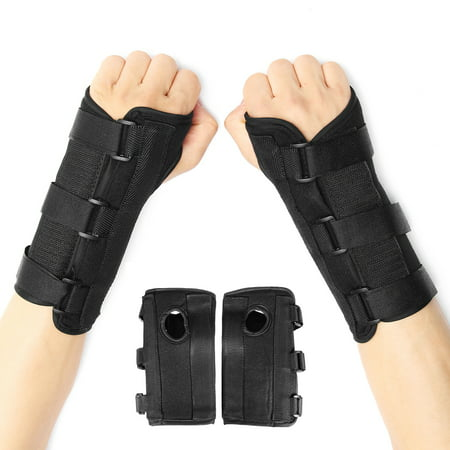 1Pair Breathable Medical Carpal Tunnel Wrist Brace Right and Left Hands Splint Support Arthritis Sprain Gym Hand Protector 3 Straps Adjustable Removable Metal Strips