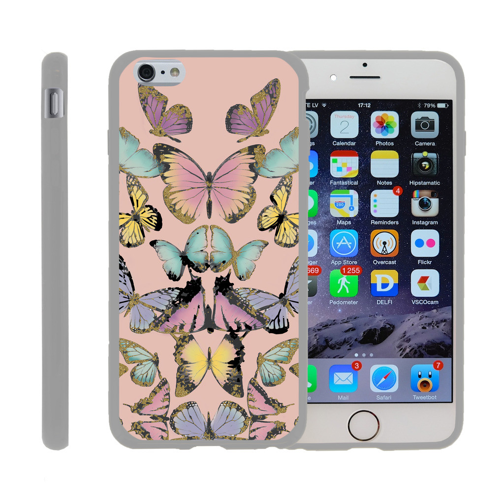 "Apple iPhone 6/6s PLUS 5.5"", [SNAP SHELL][White] Hard White Plastic Case with Non Slip Matte Coating with Custom Designs - Butterfly Symmetry"