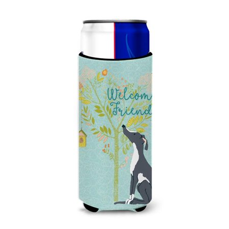 Carolines Treasures BB7592MUK Welcome Friends Black & White Greyhound Michelob Ultra Hugger for Slim Cans - image 1 de 1